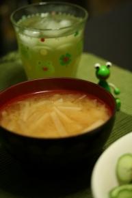 大根のお味噌汁 と 涼煎茶 ~~旦⊂(・∀・ )