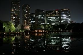 海水の池に写る高層ビル