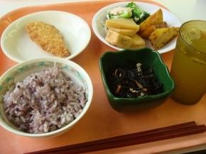 ささみフライ・タケノコ煮・ブロッコリーとカニカマのあえもの・大学芋・ひじき煮・黒米