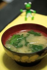 小松菜と大根のお味噌汁♪・・・・・・・ん?後ろの緑の物体は??( ´艸`)