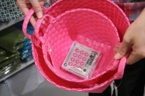 ピンクのかご大小とピンクの文字盤?キッチンタイマーを購入~♪